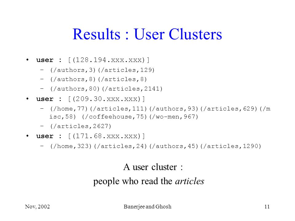 Nov, 2002Banerjee and Ghosh11 Results : User Clusters user : [(128.194.xxx.xxx)] –(/authors,3)(/articles,129) –(/authors,8)(/articles,8) –(/authors,80)(/articles,2141) user : [(209.30.xxx.xxx)] –(/home,77)(/articles,111)(/authors,93)(/articles,629)(/m isc,58) (/coffeehouse,75)(/wo-men,967) –(/articles,2627) user : [(171.68.xxx.xxx)] –(/home,323)(/articles,24)(/authors,45)(/articles,1290) A user cluster : people who read the articles