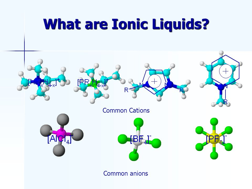 What are Ionic Liquids Common Cations Common anions