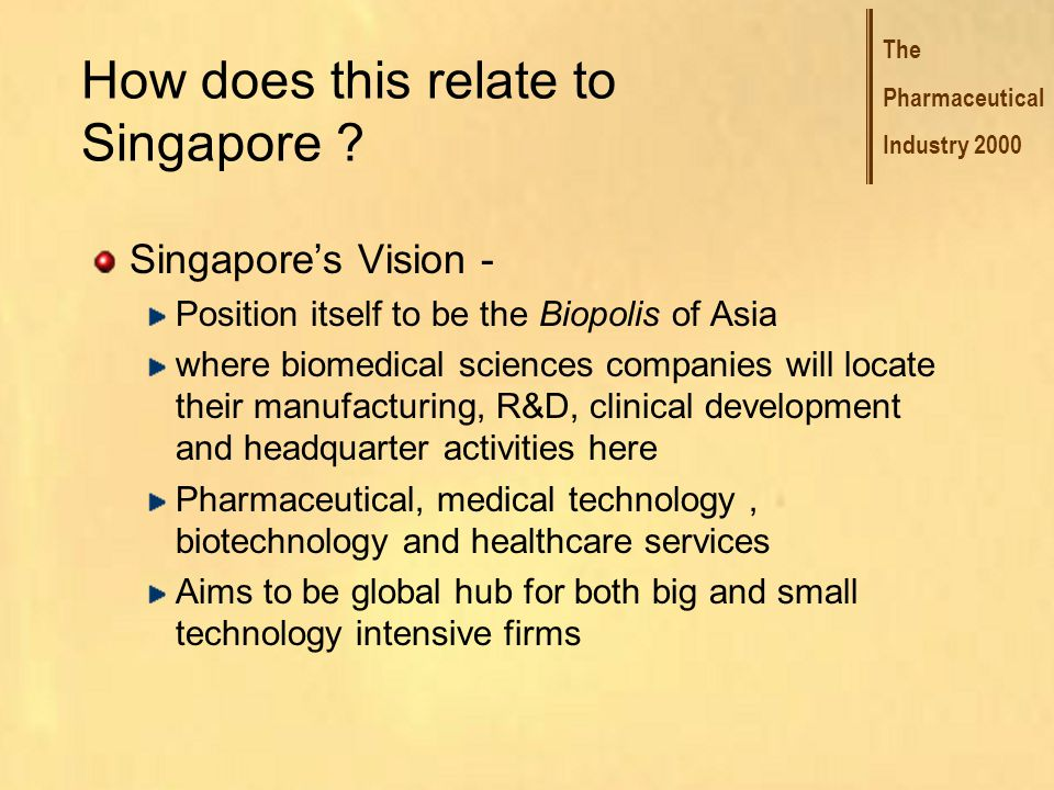 The Pharmaceutical Industry 2000 How does this relate to Singapore .