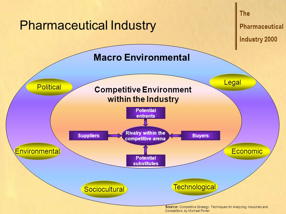 The Pharmaceutical Industry 2000 Pharmaceutical Industry Macro Environmental Competitive Environment within the Industry Environmental Legal Political Economic Technological Sociocultural Source: Competitive Strategy: Techniques for Analyzing Industries and Competitors, by Michael Porter Firms Potential entrants Potential substitutes Suppliers Buyers Rivalry within the competitive arena