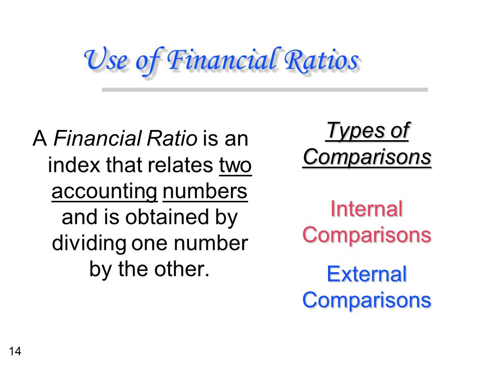 14 Use of Financial Ratios Types of Comparisons Internal Comparisons External Comparisons Types of Comparisons Internal Comparisons External Compariso