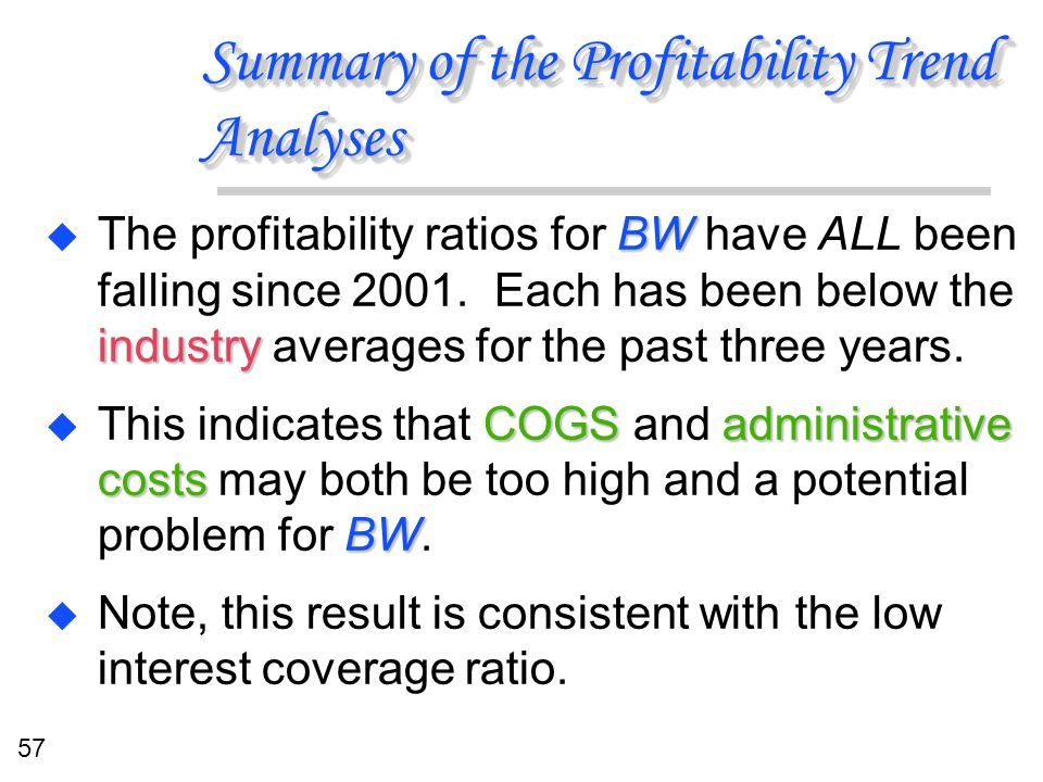 57 Summary of the Profitability Trend Analyses BW industry u The profitability ratios for BW have ALL been falling since 2001. Each has been below the