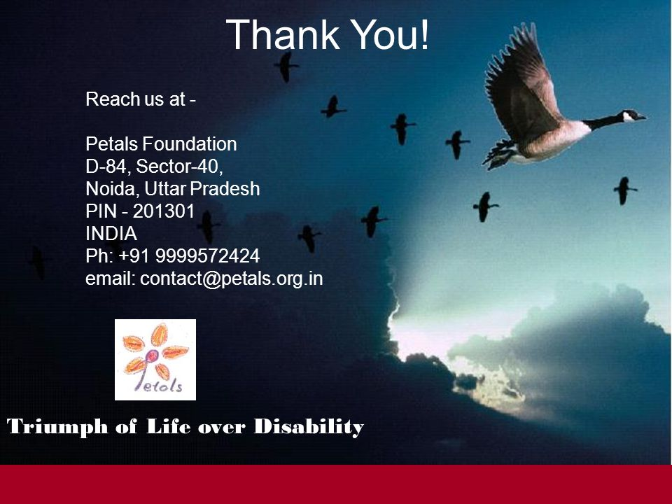 Triumph of Life over Disability Thank You.