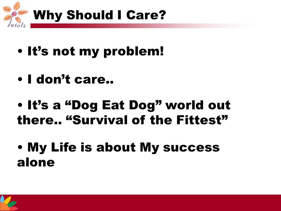 """It's not my problem! I don't care.. My Life is about My success alone It's a """"Dog Eat Dog"""" world out there.. """"Survival of the Fittest"""" Why Should I Ca"""