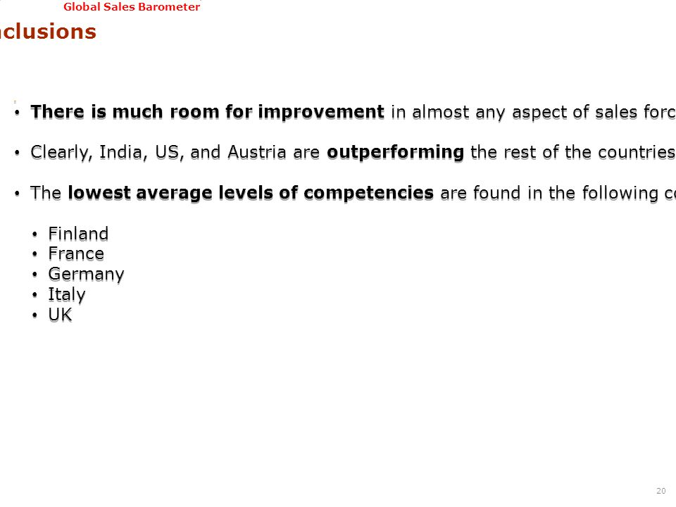 GSSI, June 22-24, 2011 Global Sales Barometer Conclusions 20 There is much room for improvement in almost any aspect of sales force and sales process management (mean value of competencies is not very high).
