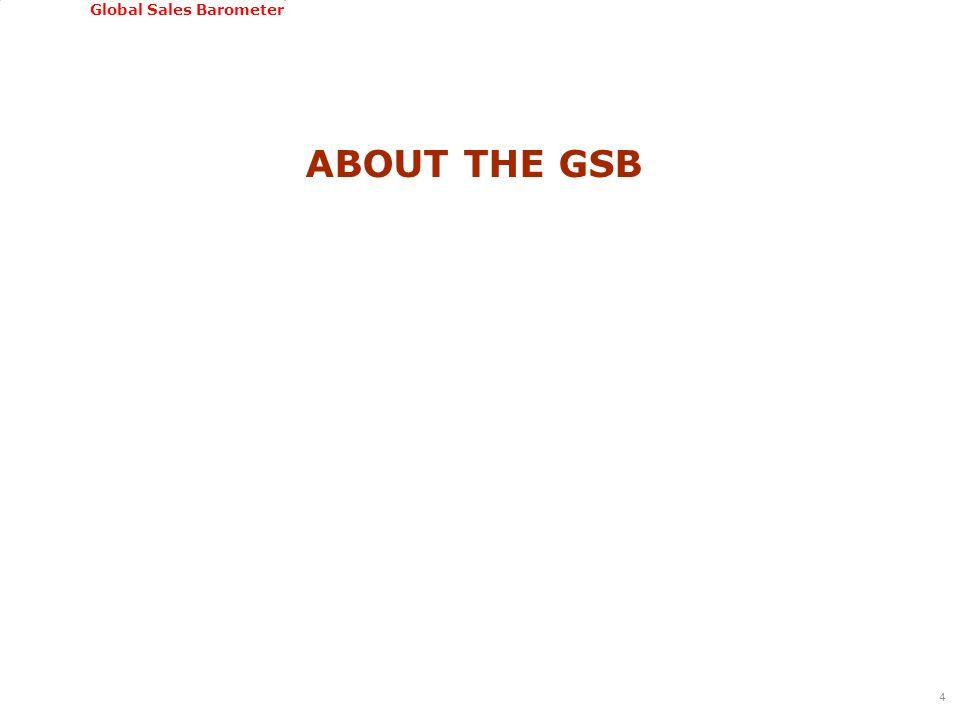 GSSI, June 22-24, 2011 Global Sales Barometer ABOUT THE GSB 4