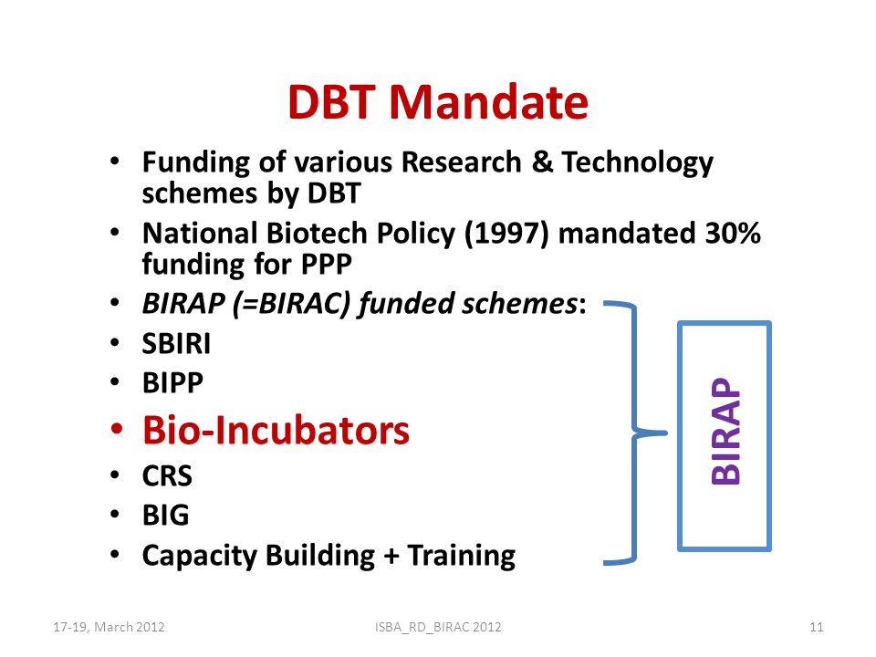 DBT Mandate Funding of various Research & Technology schemes by DBT National Biotech Policy (1997) mandated 30% funding for PPP BIRAP (=BIRAC) funded