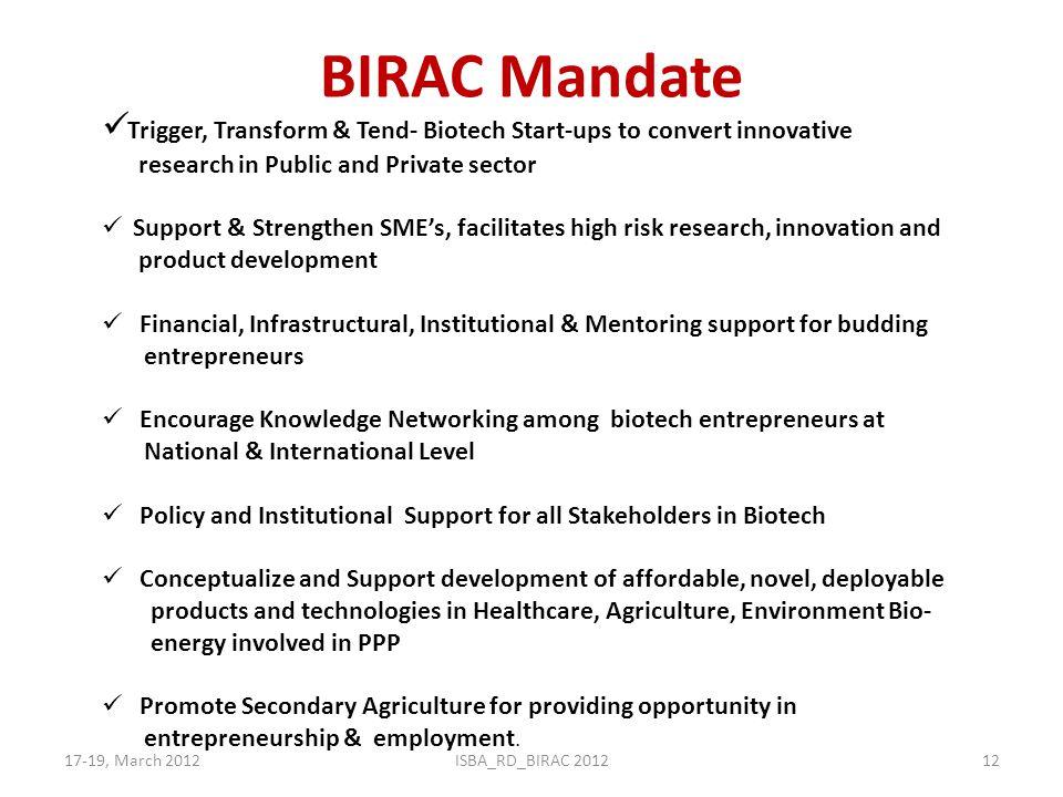 BIRAC Mandate 17-19, March 2012ISBA_RD_BIRAC 201212 Trigger, Transform & Tend- Biotech Start-ups to convert innovative research in Public and Private