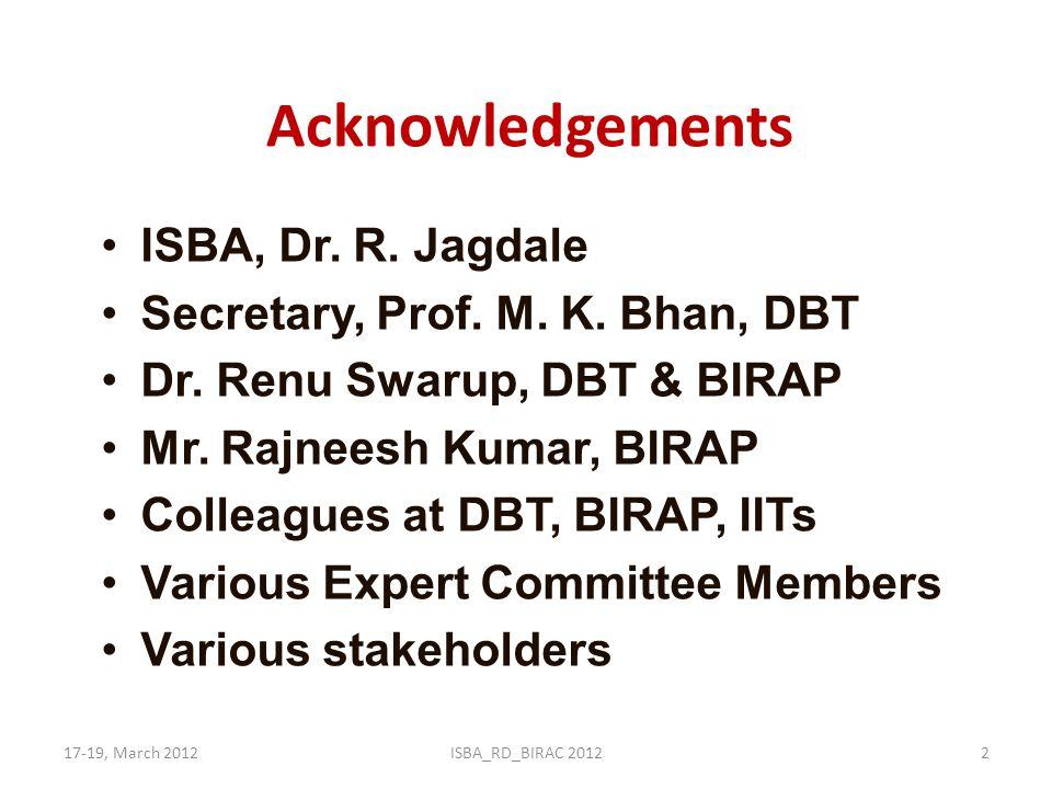 Acknowledgements ISBA, Dr. R. Jagdale Secretary, Prof. M. K. Bhan, DBT Dr. Renu Swarup, DBT & BIRAP Mr. Rajneesh Kumar, BIRAP Colleagues at DBT, BIRAP