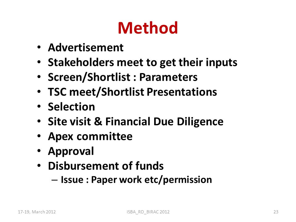 Method Advertisement Stakeholders meet to get their inputs Screen/Shortlist : Parameters TSC meet/Shortlist Presentations Selection Site visit & Finan