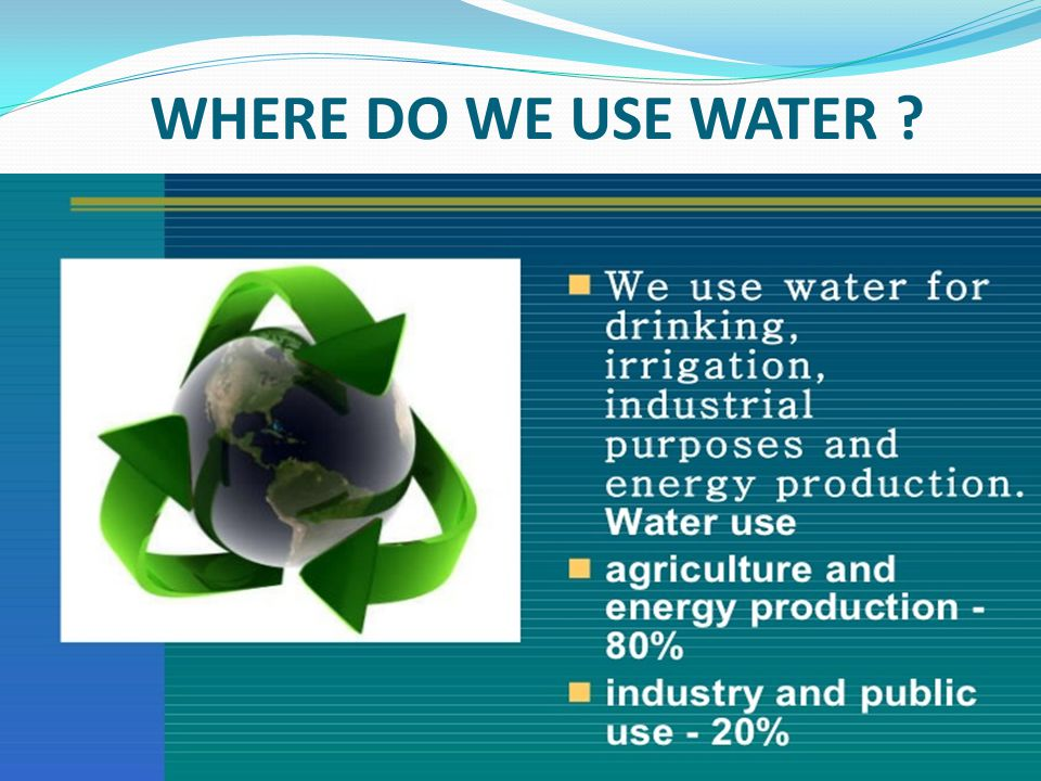 WHERE DO WE USE WATER