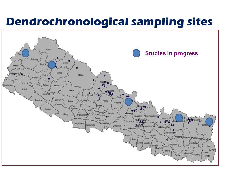 Dendrochronological sampling sites 3 Studies in progress