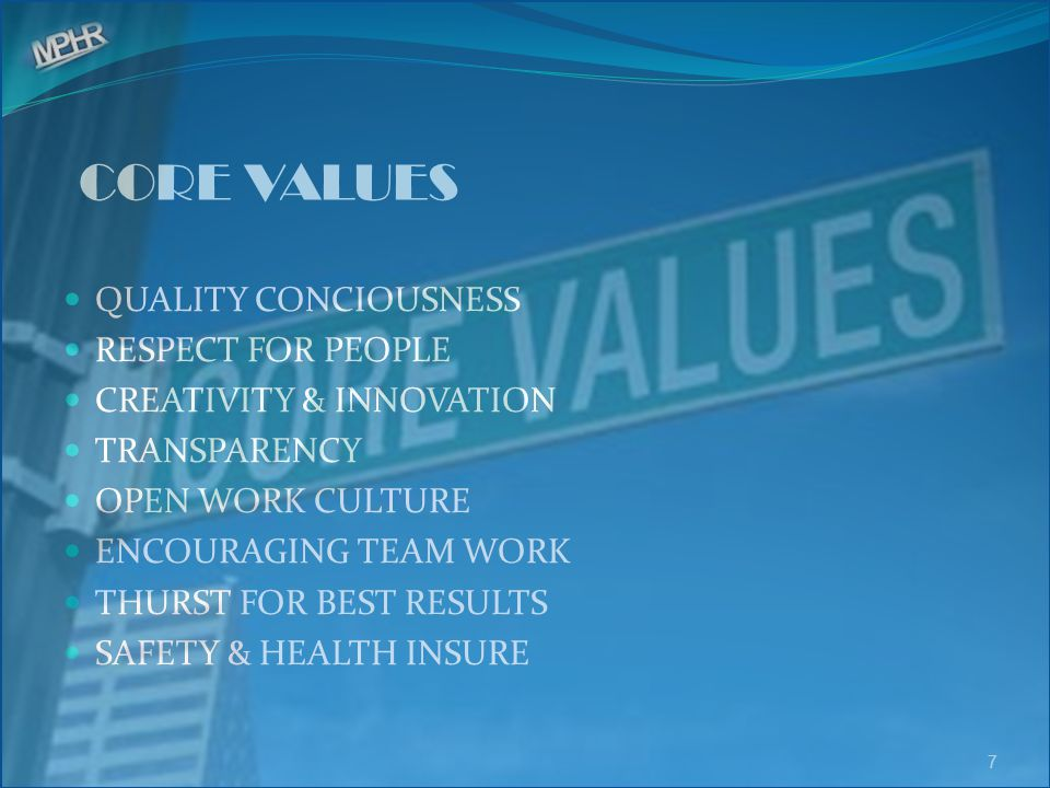 CORE VALUES QUALITY CONCIOUSNESS RESPECT FOR PEOPLE CREATIVITY & INNOVATION TRANSPARENCY OPEN WORK CULTURE ENCOURAGING TEAM WORK THURST FOR BEST RESUL