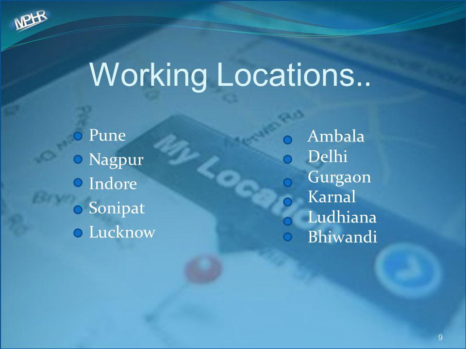 Working Locations.. Pune Nagpur Indore Sonipat Lucknow 9 Ambala Delhi Gurgaon Karnal Ludhiana Bhiwandi