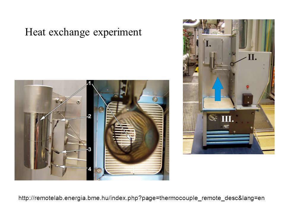 Heat exchange experiment http://remotelab.energia.bme.hu/index.php page=thermocouple_remote_desc&lang=en