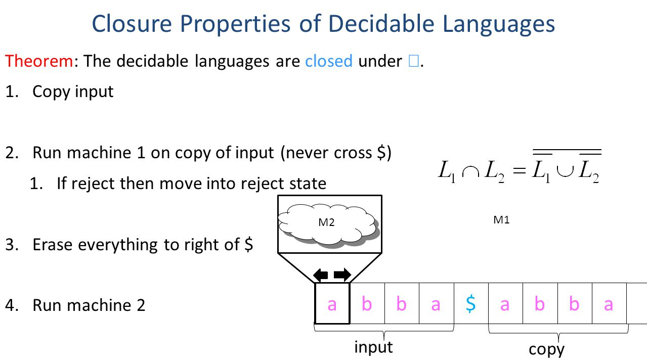 Theorem: The decidable languages are closed under .