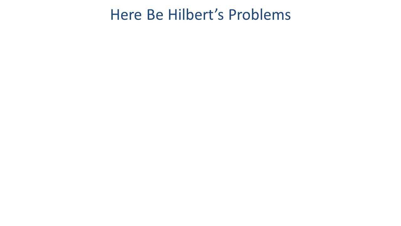 Here Be Hilbert's Problems