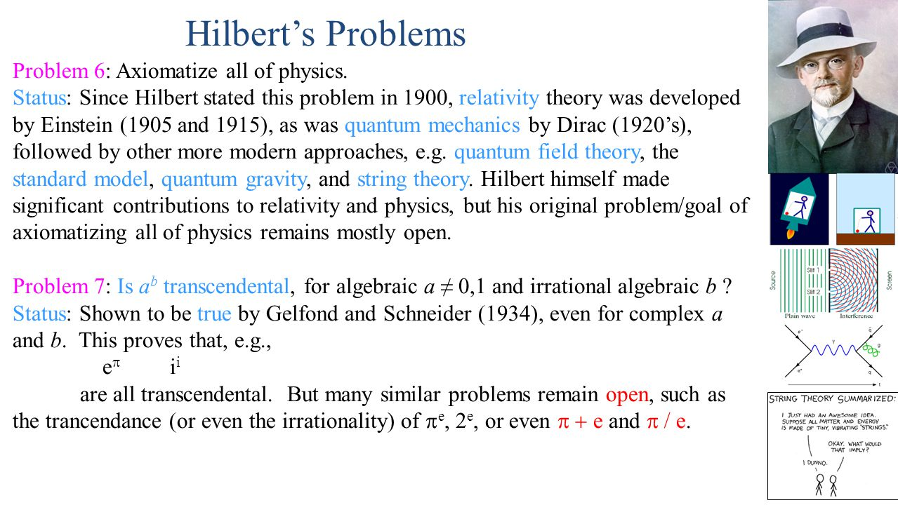 Hilbert's Problems Problem 6: Axiomatize all of physics.