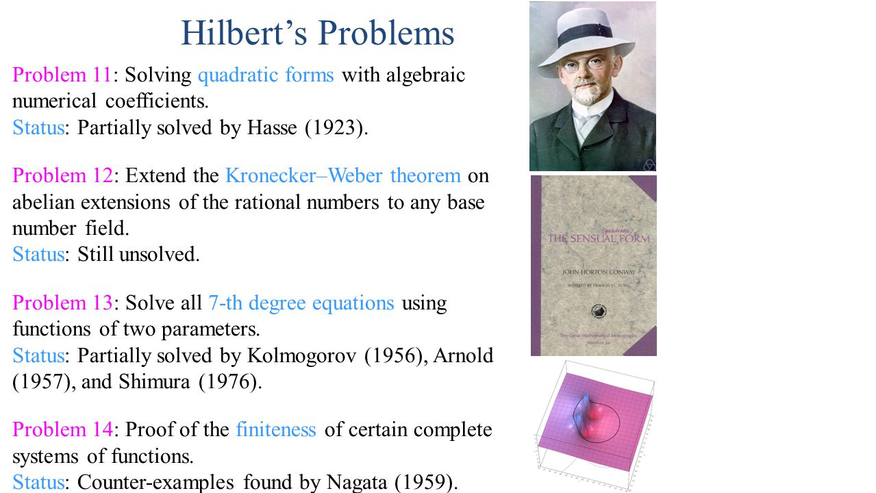 Hilbert's Problems Problem 11: Solving quadratic forms with algebraic numerical coefficients.