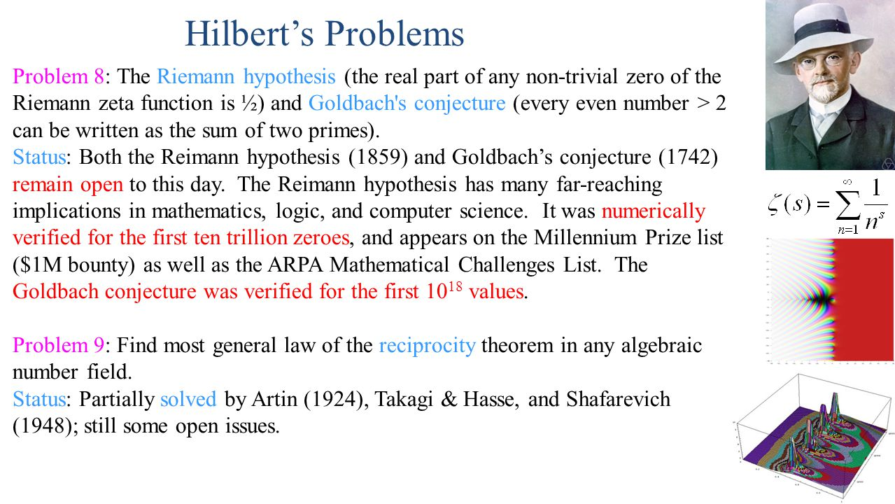 Problem 10: Find an algorithm that determines whether a given Diophantine (i.e., multi-variable polynomial) equation has any integer solutions.