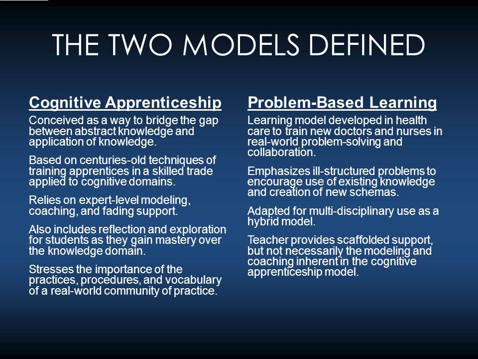 THE INTERSECTION OF THE TWO MODELS Problem Solving Structured Guidance Situated Learning