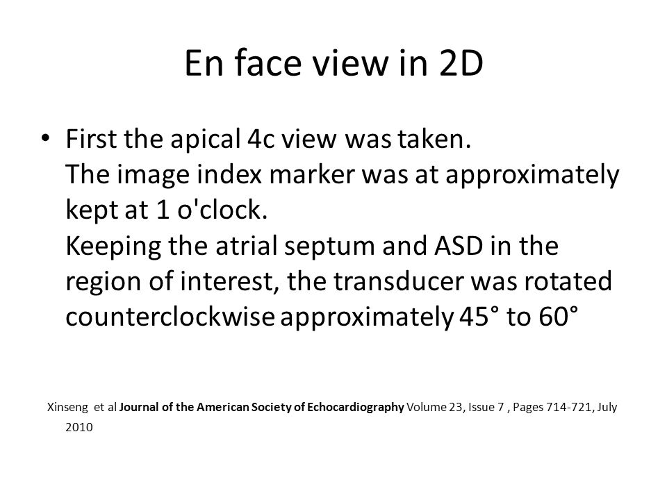 En face view in 2D First the apical 4c view was taken.