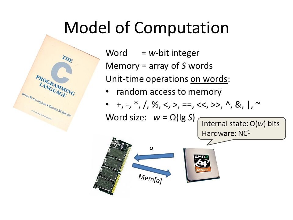Model of Computation Word = w-bit integer Memory = array of S words Unit-time operations on words: random access to memory +, -, *, /, %,, ==, >, ^, &, |, ~ Word size: w = Ω(lg S) a Mem[a] Internal state: O(w) bits Hardware: NC 1