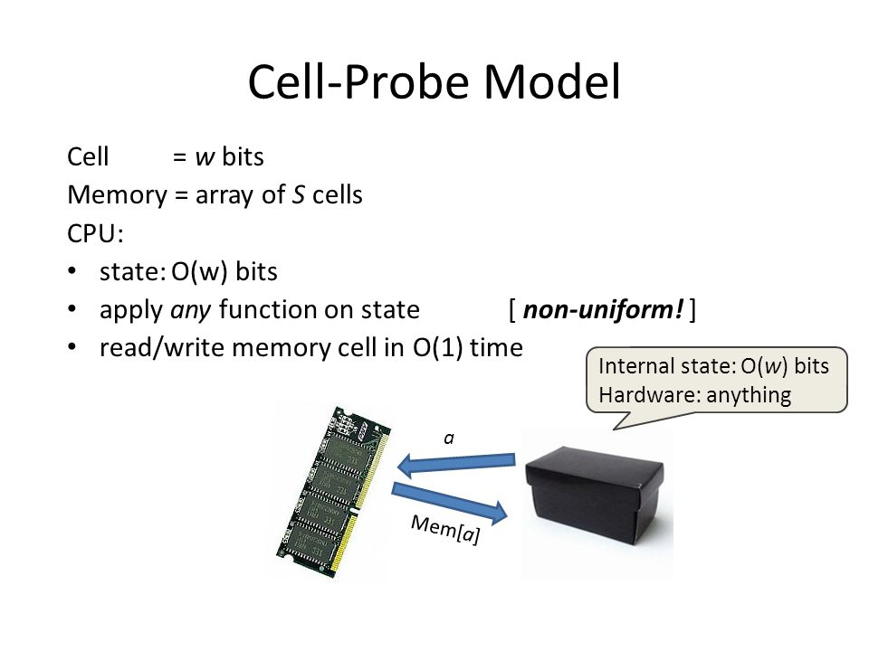 Cell-Probe Model Cell = w bits Memory = array of S cells CPU: state: O(w) bits apply any function on state [ non-uniform! ] read/write memory cell in