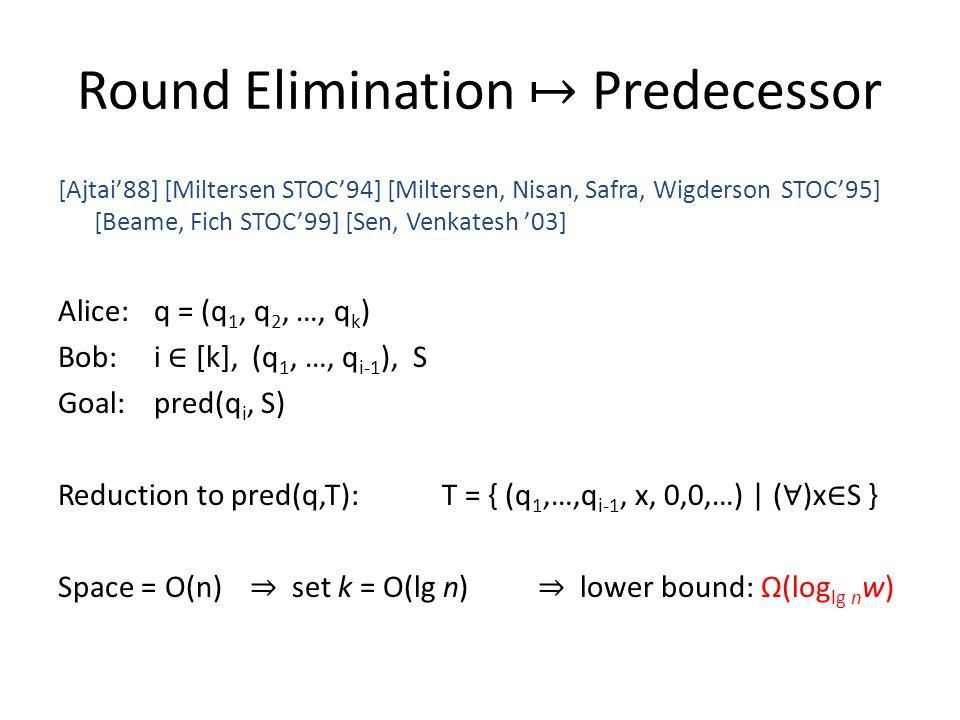 Round Elimination ↦ Predecessor [Ajtai'88] [Miltersen STOC'94] [Miltersen, Nisan, Safra, Wigderson STOC'95] [Beame, Fich STOC'99] [Sen, Venkatesh '03] Alice: q = (q 1, q 2, …, q k ) Bob: i ∈ [k], (q 1, …, q i-1 ), S Goal:pred(q i, S) Reduction to pred(q,T):T = { (q 1,…,q i-1, x, 0,0,…) | ( ∀ )x ∈ S } Space = O(n) ⇒ set k = O(lg n) ⇒ lower bound: Ω(log lg n w)