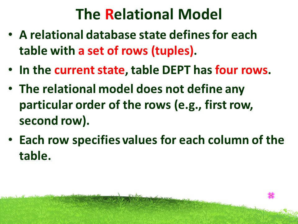 The Relational Model A relational database state defines for each table with a set of rows (tuples).