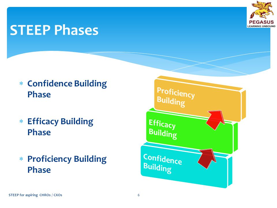 STEEP Phases  Confidence Building Phase  Efficacy Building Phase  Proficiency Building Phase STEEP for aspiring CHROs / CXOs6