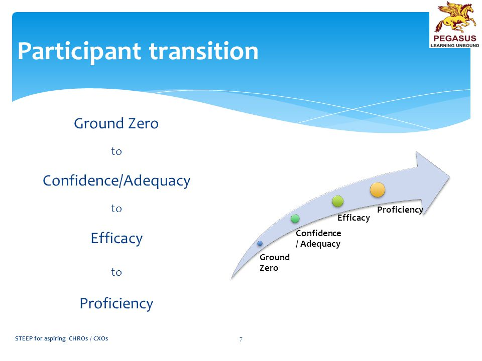 Participant transition Ground Zero to Confidence/Adequacy to Efficacy to Proficiency Ground Zero Confidence / Adequacy Efficacy Proficiency STEEP for aspiring CHROs / CXOs7