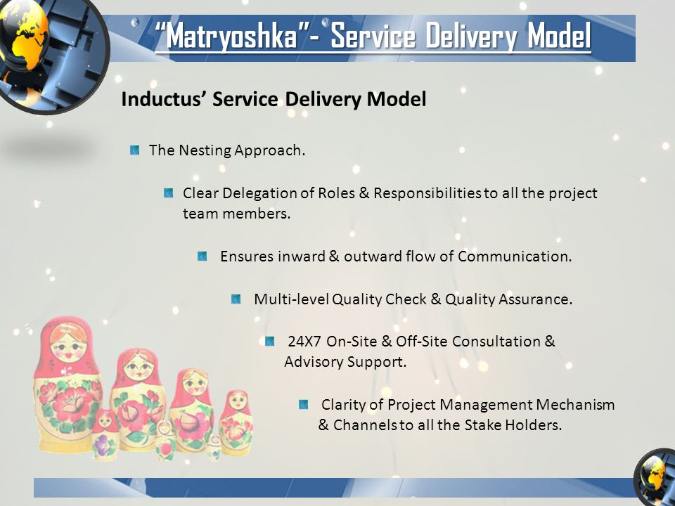 Matryoshka - Service Delivery Model Inductus' Service Delivery Model The Nesting Approach.