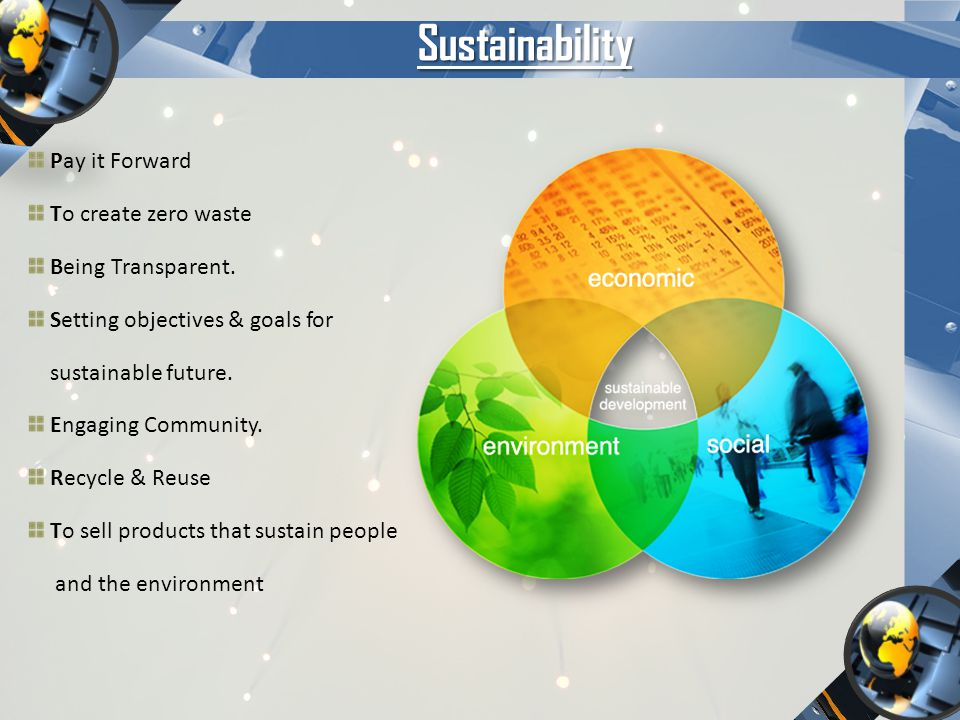 Sustainability Pay it Forward To create zero waste Being Transparent.