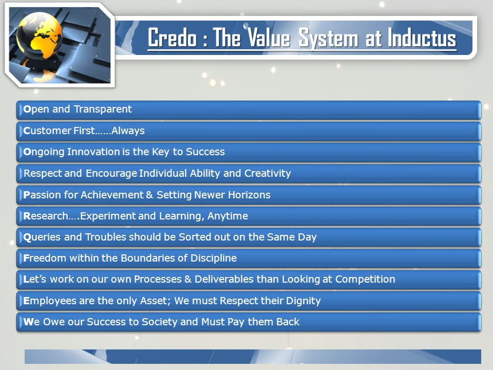 Credo : The Value System at Inductus Open and Transparent Customer First……Always Ongoing Innovation is the Key to Success Respect and Encourage Individual Ability and Creativity Passion for Achievement & Setting Newer Horizons Research….Experiment and Learning, Anytime Queries and Troubles should be Sorted out on the Same Day Freedom within the Boundaries of Discipline Let's work on our own Processes & Deliverables than Looking at Competition Employees are the only Asset; We must Respect their Dignity We Owe our Success to Society and Must Pay them Back