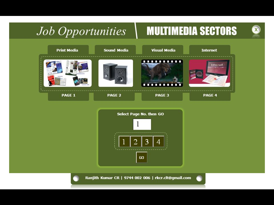 Job Opportunities MULTIMEDIA SECTORS Print MediaSound MediaVisual MediaInternet Select Page No.