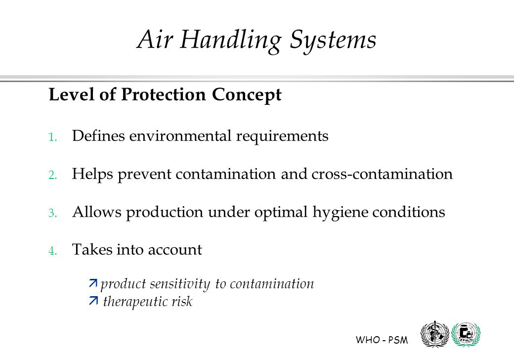 WHO - PSM Air Handling Systems Level of Protection Concept 1.