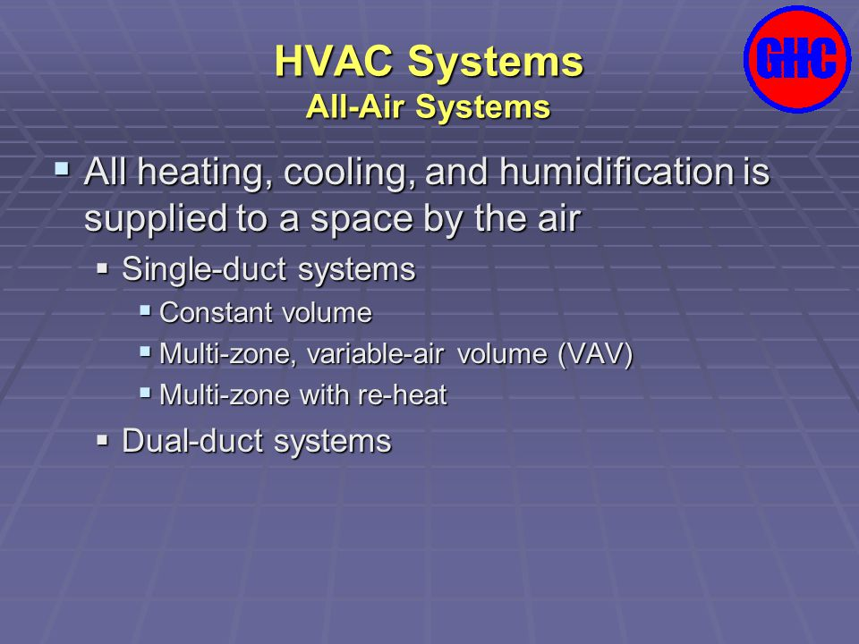 HVAC Systems All-Air Systems  Single duct systems Fossil-fuel furnace with direct-expansion (DX) cooling