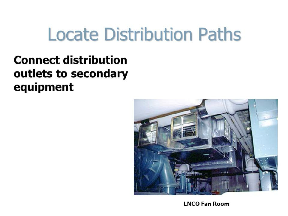 Locate Distribution Paths Connect distribution outlets to secondary equipment LNCO Fan Room