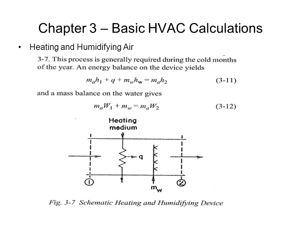 Chapter 3 – Basic HVAC Calculations Heating and Humidifying Air