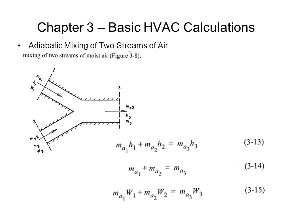 Chapter 3 – Basic HVAC Calculations Adiabatic Mixing of Two Streams of Air