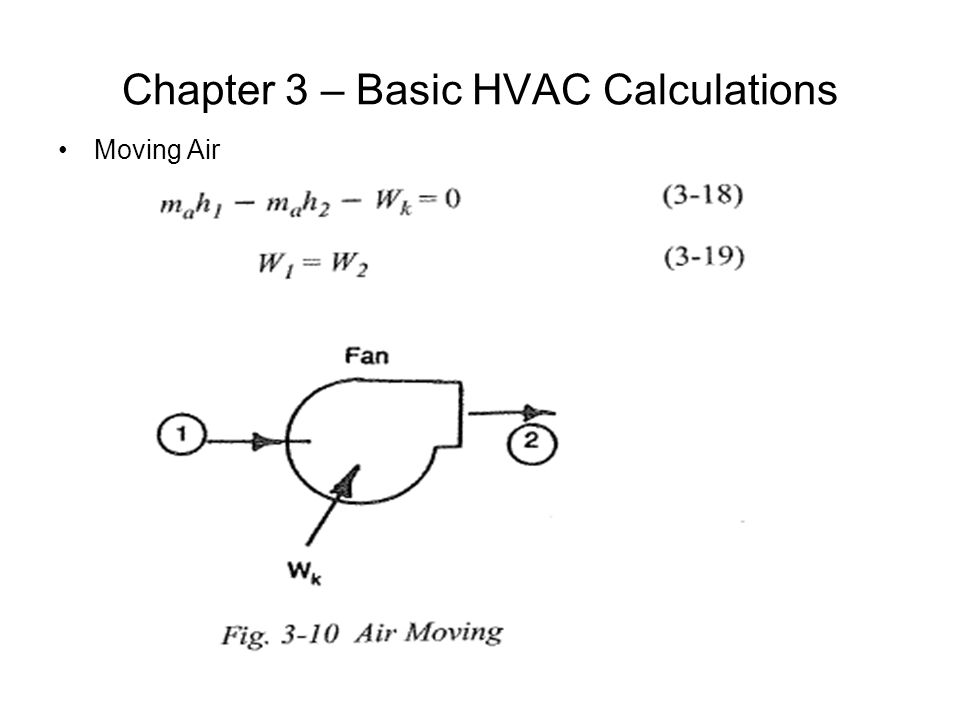 Chapter 3 – Basic HVAC Calculations Moving Air