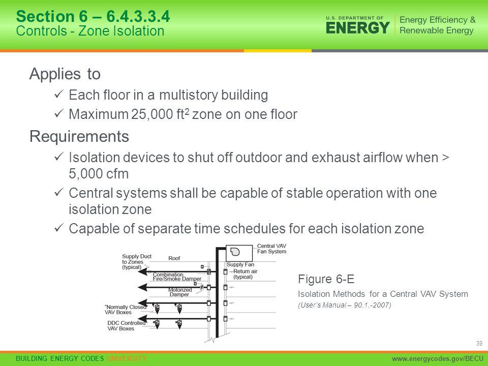 BUILDING ENERGY CODES UNIVERSITYwww.energycodes.gov/BECU 39 Applies to Each floor in a multistory building Maximum 25,000 ft 2 zone on one floor Requi