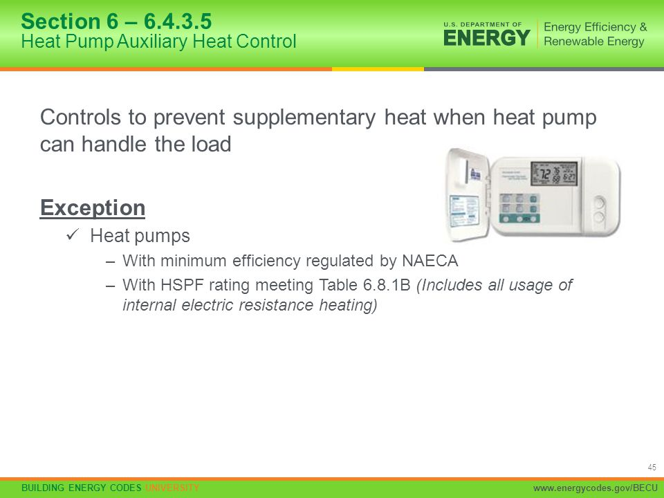 BUILDING ENERGY CODES UNIVERSITYwww.energycodes.gov/BECU 45 Controls to prevent supplementary heat when heat pump can handle the load Exception Heat p