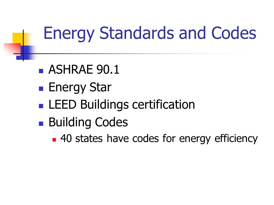 Energy Standards and Codes ASHRAE 90.1 Energy Star LEED Buildings certification Building Codes 40 states have codes for energy efficiency