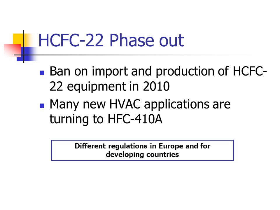 HCFC-22 Phase out Ban on import and production of HCFC- 22 equipment in 2010 Many new HVAC applications are turning to HFC-410A Different regulations in Europe and for developing countries