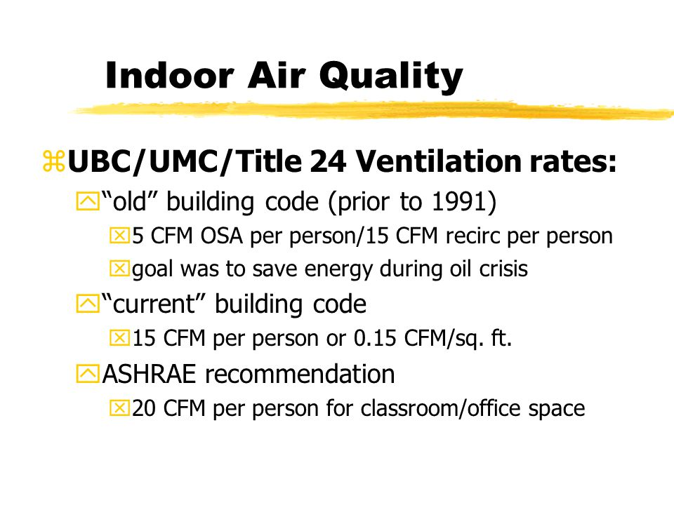 Indoor Air Quality zUBC/UMC/Title 24 Ventilation rates: y old building code (prior to 1991) x5 CFM OSA per person/15 CFM recirc per person xgoal was to save energy during oil crisis y current building code x15 CFM per person or 0.15 CFM/sq.