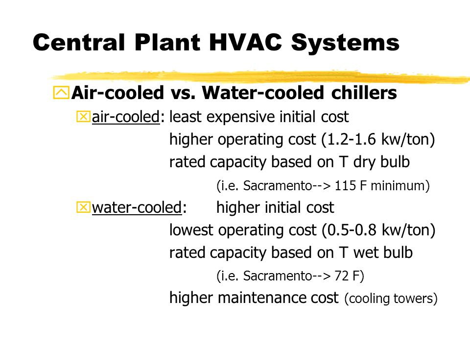 Central Plant HVAC Systems yAir-cooled vs.