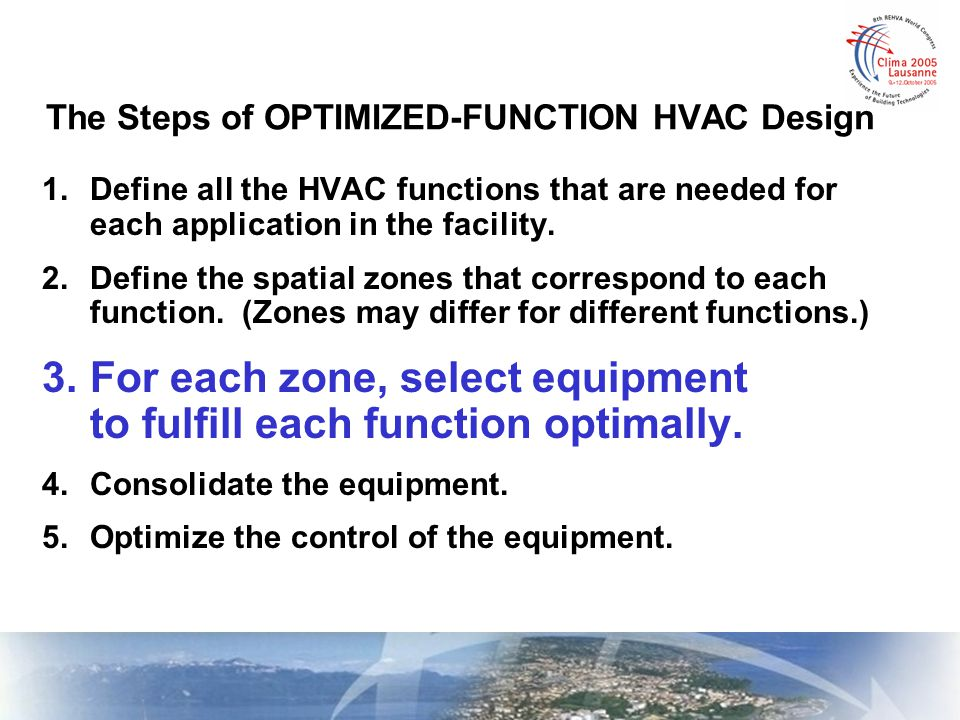 The Steps of OPTIMIZED-FUNCTION HVAC Design 1.Define all the HVAC functions that are needed for each application in the facility. 2.Define the spatial
