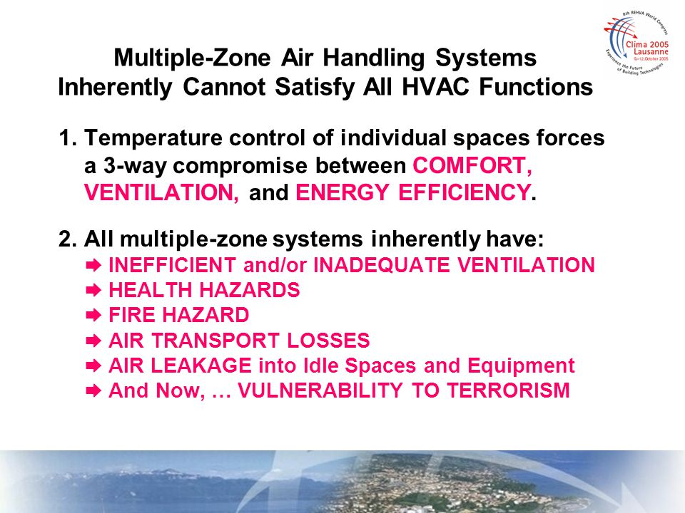 These deficiencies of multiple-zone air handling systems are INHERENT.